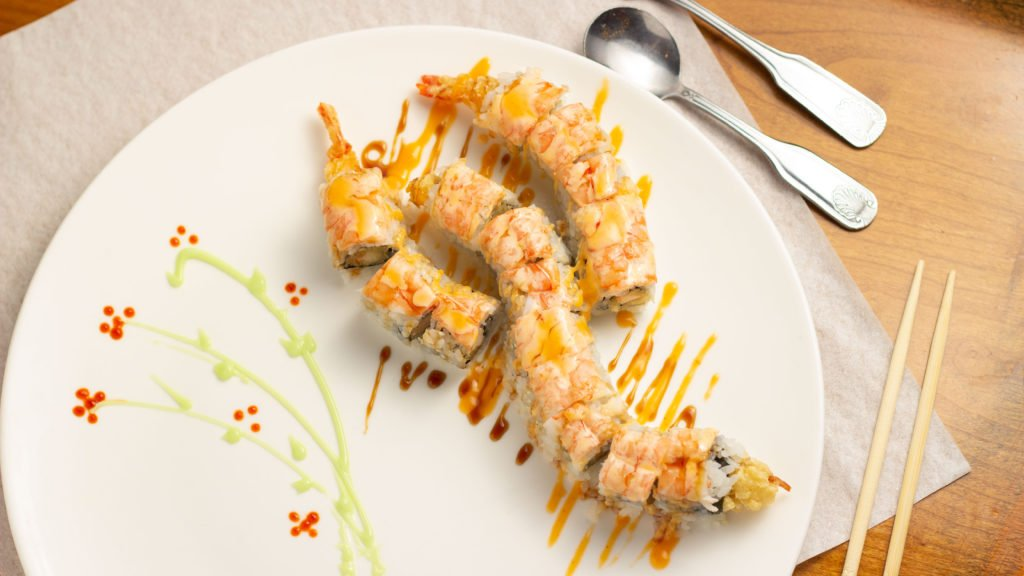 Photo of a colorful sushi roll by Atlanta product photographer William Twitty.