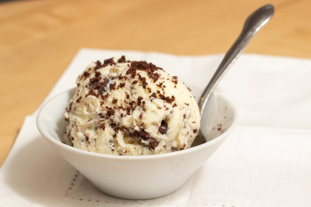 Photo of a bowl of vanilla ice cream sprinkled with chocolate crumbles by Atlanta product photographer William Twitty.