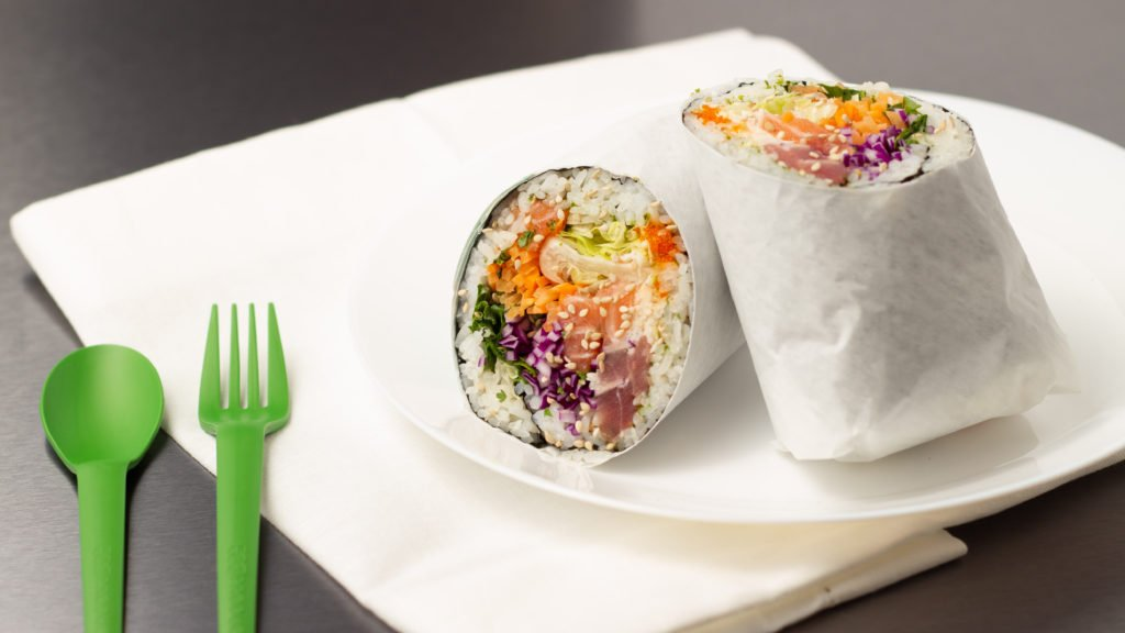 Photo of a poke wrap cut in half by Atlanta product photographer William Twitty.