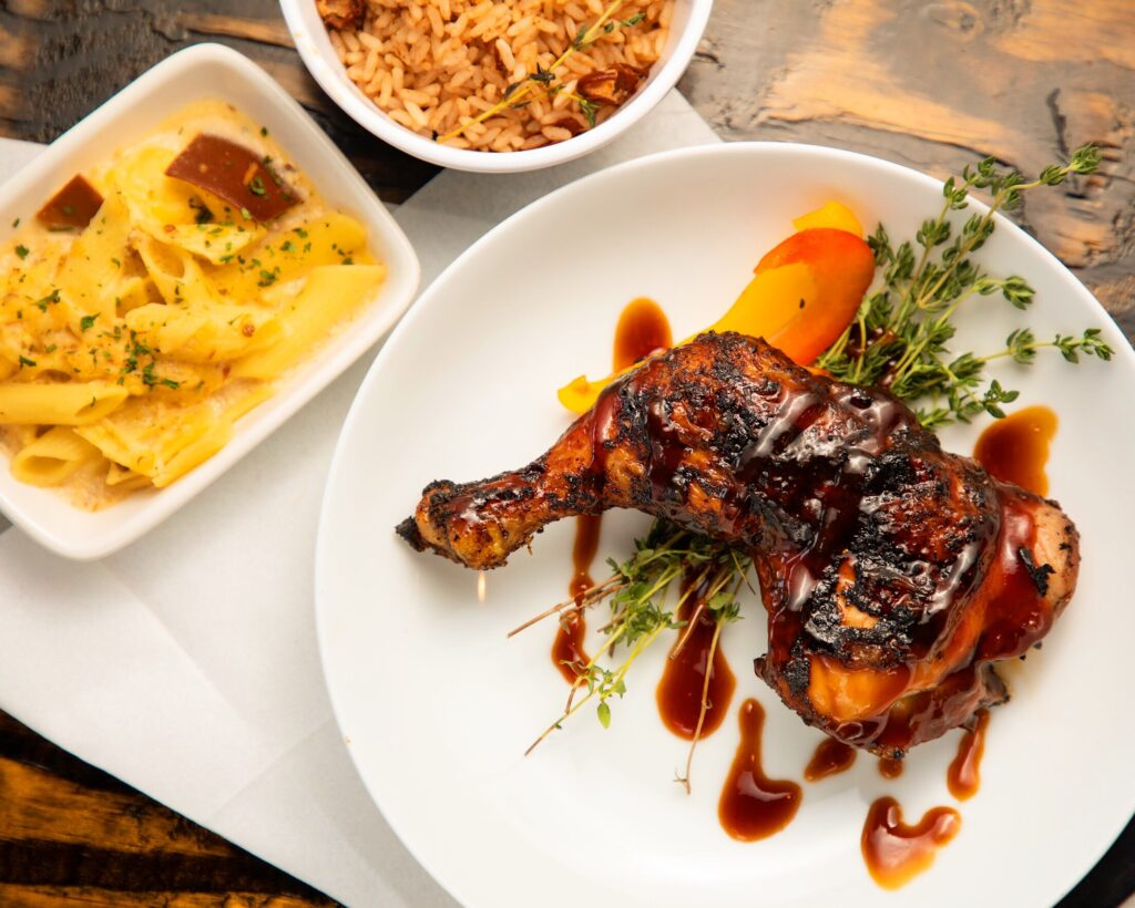 Photo of chicken entree and sides by Atlanta food photographer William Twitty.