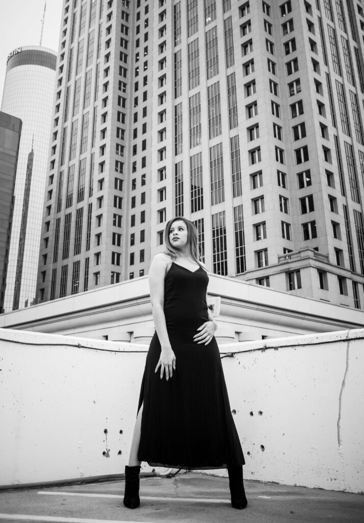 Portrait of an actress standing on a rooftop by Atlanta portrait photographer William Twitty.